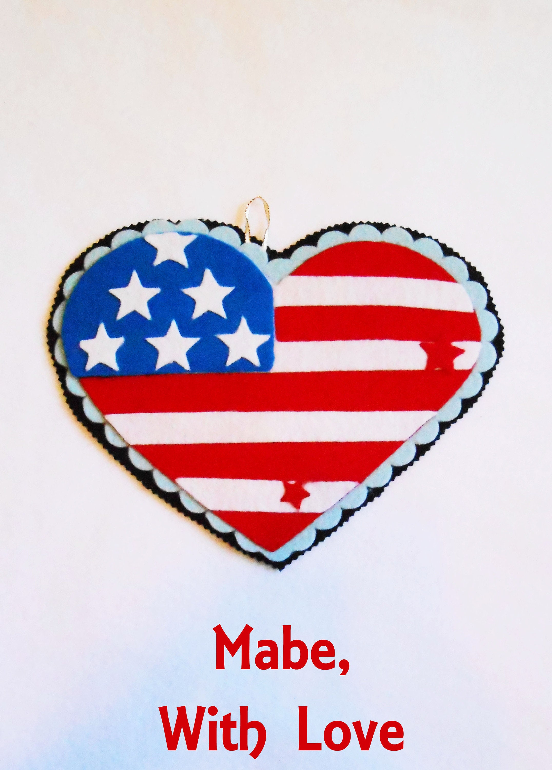 Stars And Stripes Door Hanger Heart Shaped Red White Blue Etsy