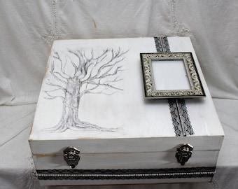 Anniversary Gift, Bridal Gift, Wedding Memory Box, Extra Large Wood Box, Black and White Wedding, Birthday Gift, Bridal Shower Gift