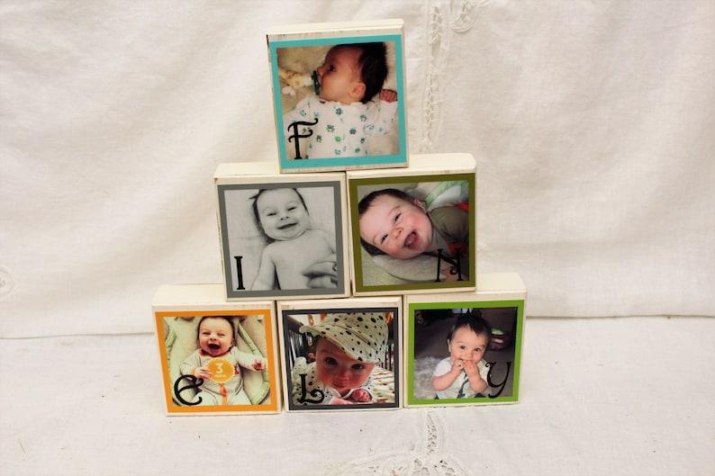 Baby Photo Block Wood Blocks 1-6 blocks Photo Blocks Name Blocks Last Name Photo Block Papa Photo Block
