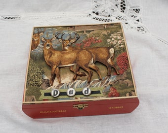 Fathers Day Gift Hunting and Fishing, Dad Gift, Gift for Him, Cigar Box, Dad Birthday Gift, Unique Gift for Him, Memory Box, Hunters Gift