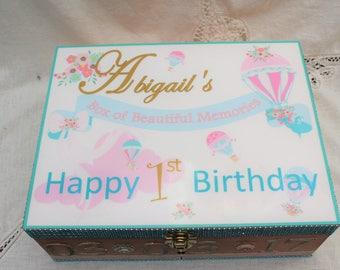 Baby Birthday Gift, Personalized Baby Gift, Baby Shower Gift, Flower Decor, Baby Time Capsule Box, Baby Girl, Baby Boy, Memory Box,