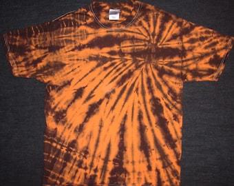 Orange and Black Spiral Tie Dyed T-Shirt