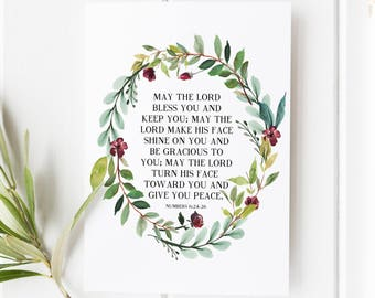 Numbers 6:24-26 - May the Lord bless you and keep you - Scripture Art - Bible Verse - Bible verse wall art - Bible verse prints