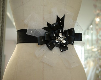 Black Bridal Wedding Dress Rhinestone Beaded Crystal Belt