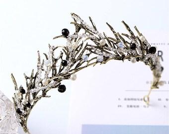 High Fashion Black Crown Wedding Tiara Cool Prom Hair Accessory