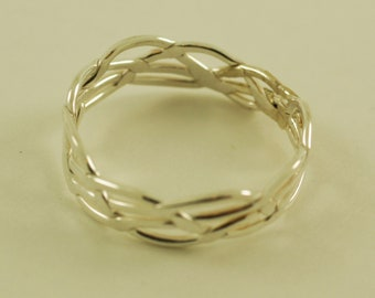 Four strand braided sterling silver ring.