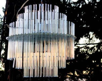 Fabulous Pencil Glass Chandelier - 6 Light Chandelier - Glass Stick Chandelier