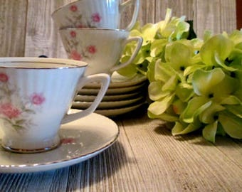 Norcrest Lyric Rose - 8 Tea Cups and Saucers with Sugar Bowl and Creamer