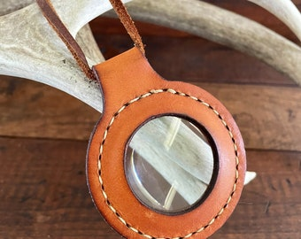 Magnifying Glass Lens Pendant Leather Necklace 5X Magnification 2 in Lens