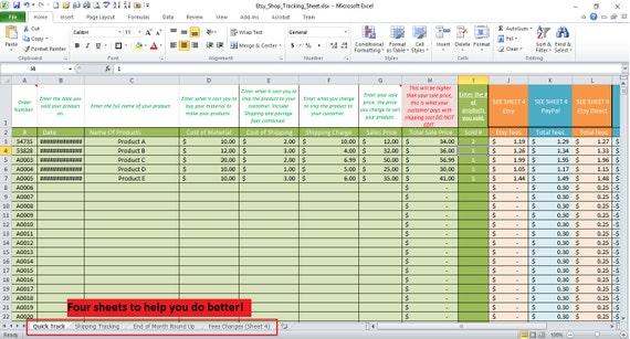 Etsy Business Profit und Bestellung Tracking Arbeitsblatt für