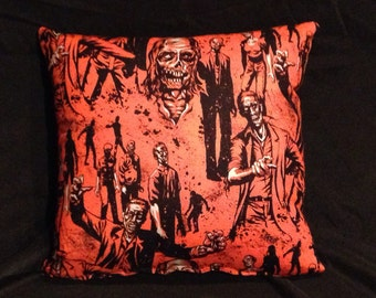 Walking Dead Zombie Pillows - Orange and Black - Halloween / Horror