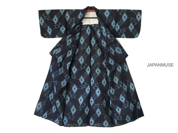 Japanese Antique Indigo Cotton Ikat Kasuri Kimono