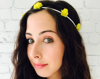 Yellow flower crown etsy yellow flower crown bachelorette party flower crown yellow roses headband flower girl crown festival flower crown rustic flower crown mightylinksfo