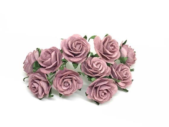 Dark Lavender 12 x 15mm Paper Rose Flowers