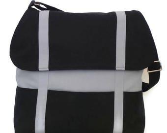 Canvas Crossbody Bag / Messenger Bag / Shoulder Bag / Book Bag / School Bag / Canvas Satchel / Handbag / Purse / Black and Gray Canvas