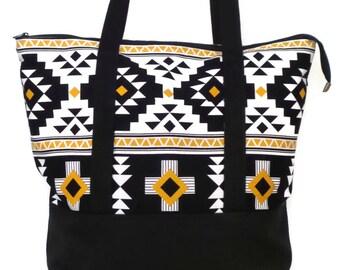 Large Zippered Tote Bag  /  Gym Bag / Travel Bag / Overnight Bag / Beach Bag / Tote Bag / Tote / Weekend Bag / Black and White Tribal Print