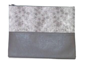 Clutch / Oversize Clutch Bag /  Fold over Clutch Bag / Clutch Purse / Evening Bag / Purse / Handbag / Gray