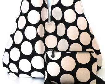 Hobo Bag and Matching Zipper Pouch / Tote Bag / Tote / Shoulder Bag  / Handbag / Purse /Sling Bag / Bag Set / Black and Natural Polka Dot