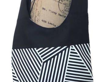 Cross body Bag/ Hobo Bag / Cross body Hobo Bag / Messenger Bag / Tote Bag / Cross body tote bag /  Black and white