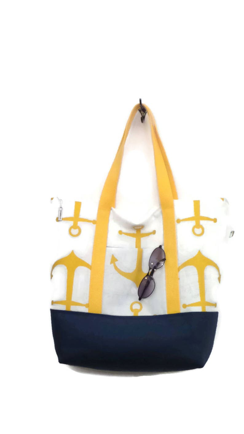 Tote Bag  Large Tote  Zippered Tote    Gym Bag  Travel Bag  Overnight Bag  Beach Bag  Weekend Bag  Yellow and White with Navy Canvas