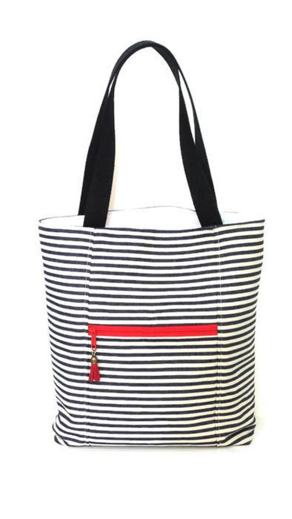 0391aabf6992 Tote Bag with zipper pockets   Black and White Striped Tote