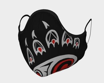 Haida Bear Paw - Gray Left full | face mask | face covering | non medical mask | cloth mask | cloth face mask | cloth face covering