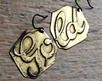 """Recycled  tin earrings   """"GOLD"""""""