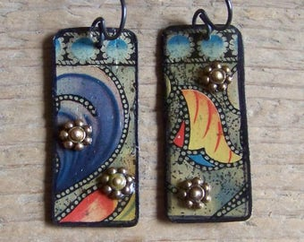 Earrings, recycled Tin   * 5