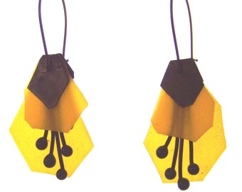 Earrings, buds, brass blackened, rubber * 766