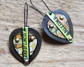 Earrings, recycled Tin   * 4