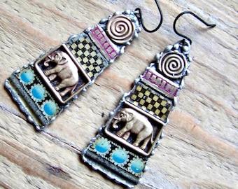 Recycled  tin earrings    *7