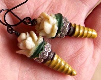 Earrings, tribal,ceramic drops,glass disc, flower beads *  765 b 74