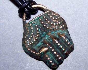 Pendant, Tribal, bronze, fist * 21