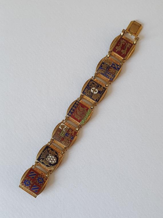 Vintage Enamel Heraldic Coat of Arms Bracelet - Fr