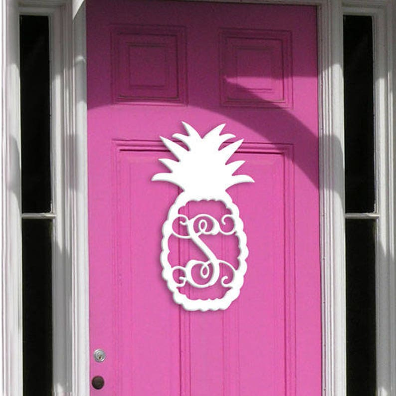 PINEAPPLE WOOD INITIAL 22 Inch Unfinished Wooden Single Initial Pineapple Monograms for Your Front Door or Wall