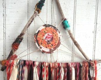 "DREAMCATCHER Rustic Driftwood & Sari Silk  Large 14"" Dream Catcher"