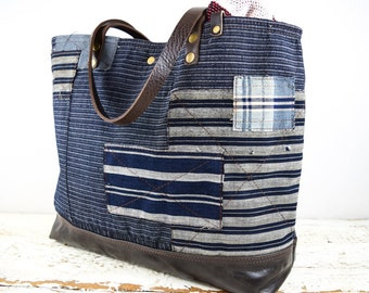 6098f7d2e233 JAPANESE BORO PATCHWORK Tote Bag Purse Repurposed Indigo Dyed Antique  Textiles