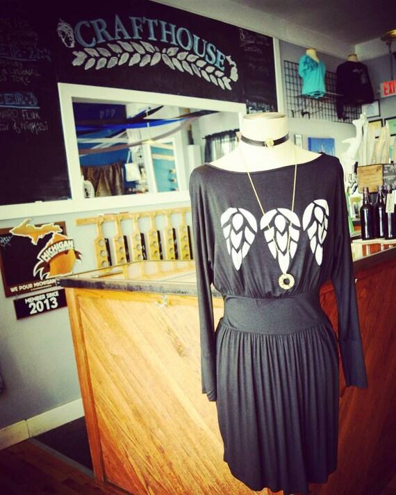 Black Hop Dress Long Sleeve Knit Dress Beer Hops Craft Etsy