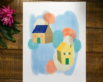 Abstract art print, two houses, green door, drawing,  watercolor painting, illustrated,  archival,  design