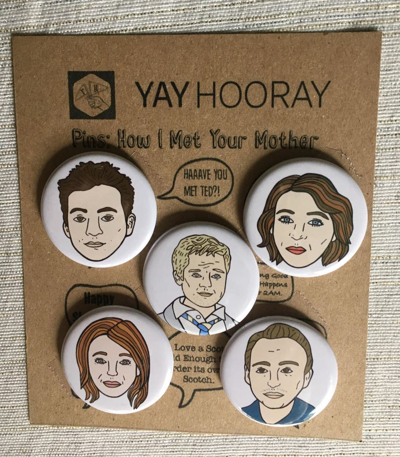 How I Met Your Mother Pin Button Badges Magnets Hand Drawn Etsy
