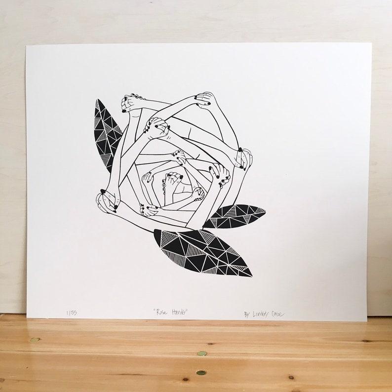 Rose Hands Ladies Unite Garden Geometric Triangle Portrait Abstract Fine Art Screen Print Illustration Drawing Printmaking