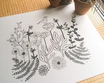 Flora Scape, botanical, flower, bird, design, floral, plant, art, screen print, illustration, drawing, printmaking, line art, silkscreen