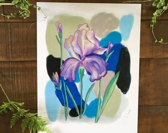 Abstract art print, Flower, Iris, plant, watercolor painting, illustrated,  archival,  design