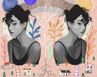 Two Sides of the Same Coin, print, , dark, light, night, day, illustration, whimsical, archival,  design