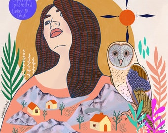 Finding the Way Back, print, illustration, whimsical, archival, owl, compass, town, mountains, design