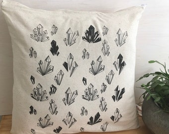 Crystal fabric, pillow, pillow cover, home, textile, linen, cotton, flying, screen print, illustration, printmaking, line art, gem, new age