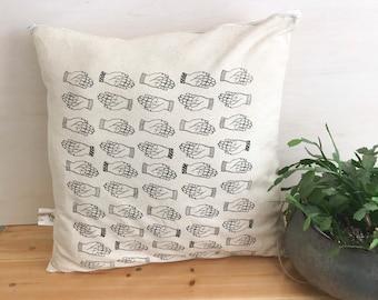 Sinister hand fabric, pillow, pillow cover, home, textile, linen, cotton, left hand, screen print, illustration, printmaking, line art, left