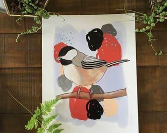 Abstract art print,  birds, chickadee bird, watercolor painting, illustrated,  archival,  design