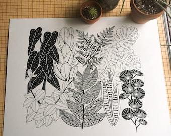 Botany Love, botanical, flower, bird, design, floral, plant, art, screen print, illustration, drawing, printmaking, line art, silkscreen
