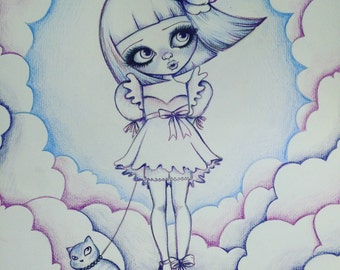 Doll draw, Original drawing with colored pencils, painting, doll illustration, original doll illustration, pencils draw,